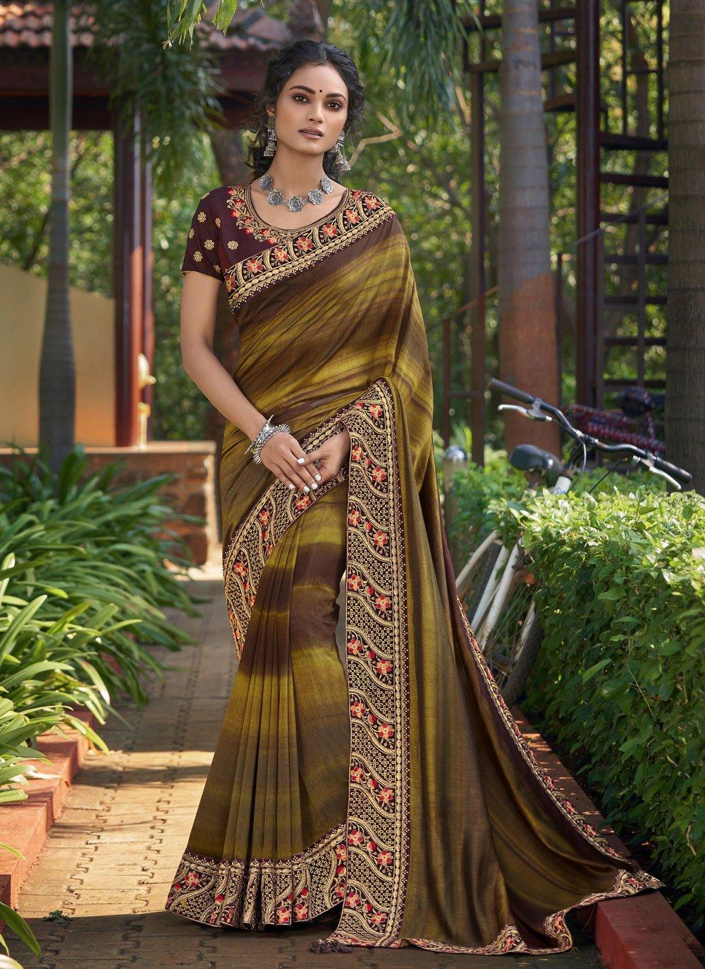 Print Chanderi Multi Colour Classic Designer Saree