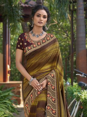 Print Chanderi Multi Colour Classic Designer Saree
