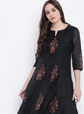 Print Chanderi Party Wear Kurti