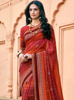 Print Chanderi Printed Saree in Multi Colour