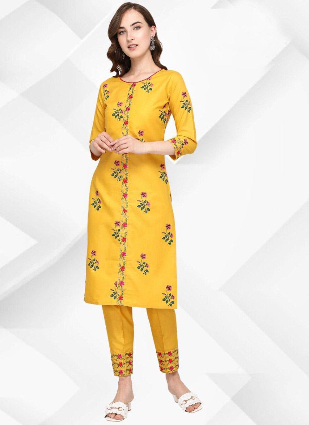 Print Cotton Casual Kurti in Yellow