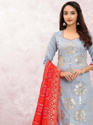 Print Cotton Churidar Designer Suit in Blue