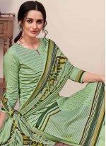 Print Cotton Green Designer Palazzo Salwar Kameez