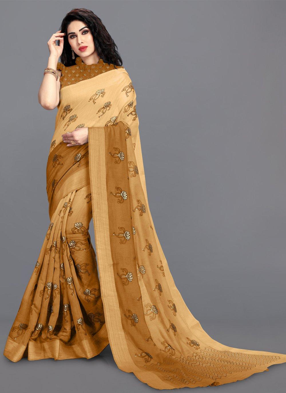 Print Cotton Printed Saree in Mustard