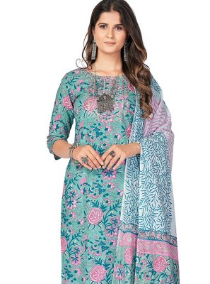 Print Cotton Readymade Suit in Blue