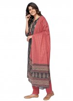 Print Cotton Readymade Suit in Grey