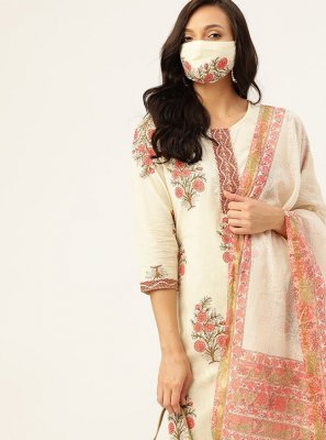 Print Cotton Readymade Suit in Off White