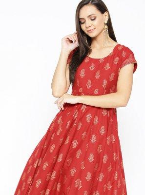 Print Cotton Red Designer Kurti