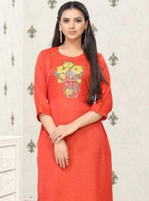 Print Cotton Red Party Wear Kurti