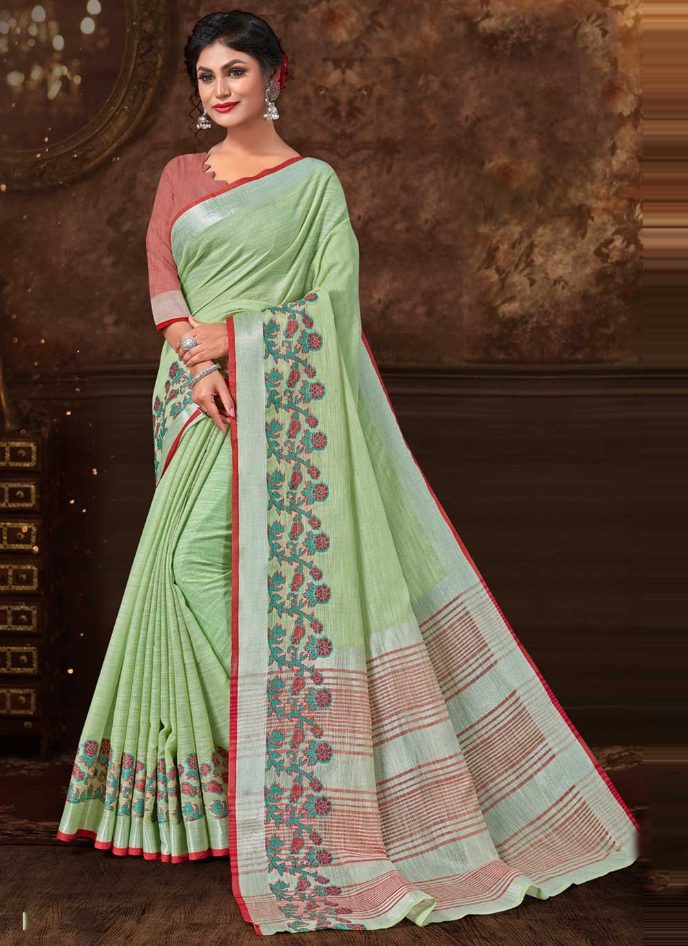 Print Fancy Fabric Trendy Saree in Green