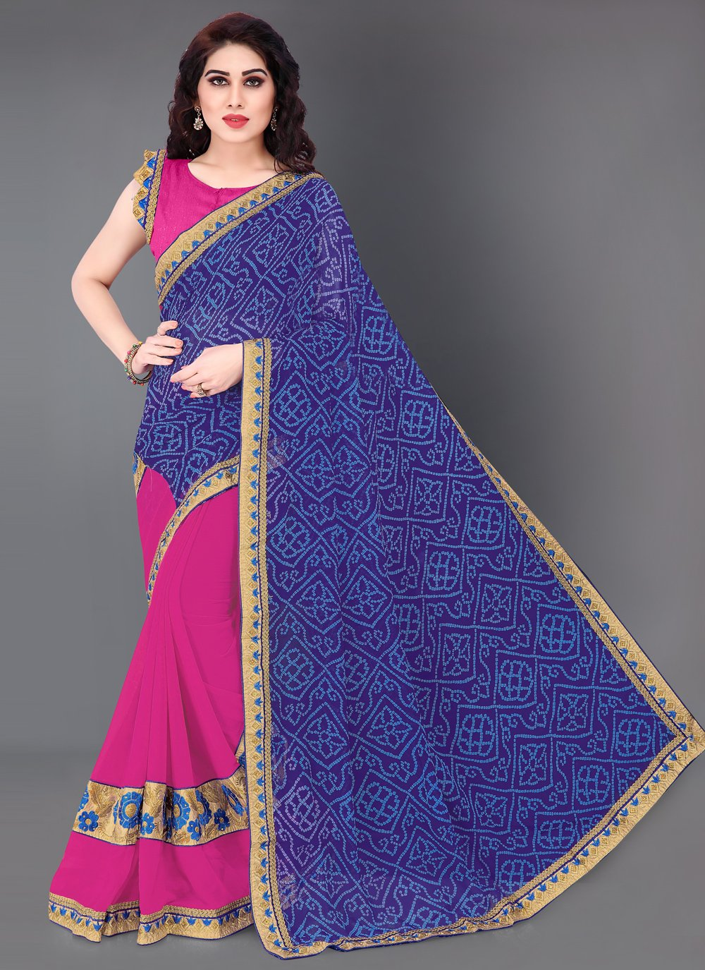Print Faux Chiffon Half N Half  Saree in Blue and Pink