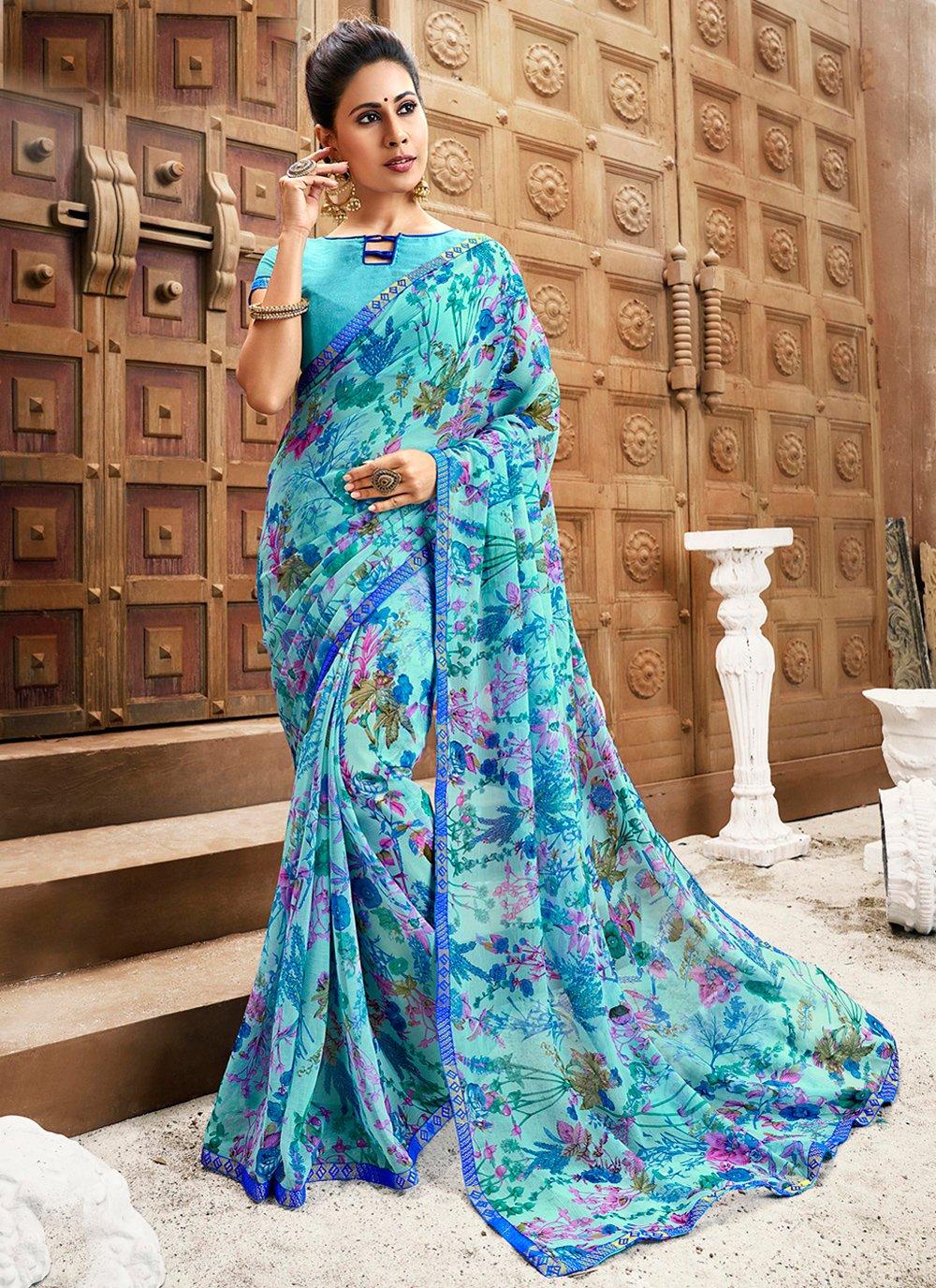 Print Faux Chiffon Trendy Saree in Blue