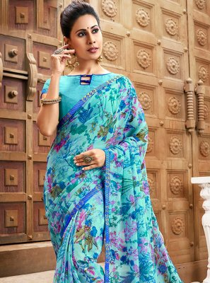 Print Faux Chiffon Trendy Saree in Blue