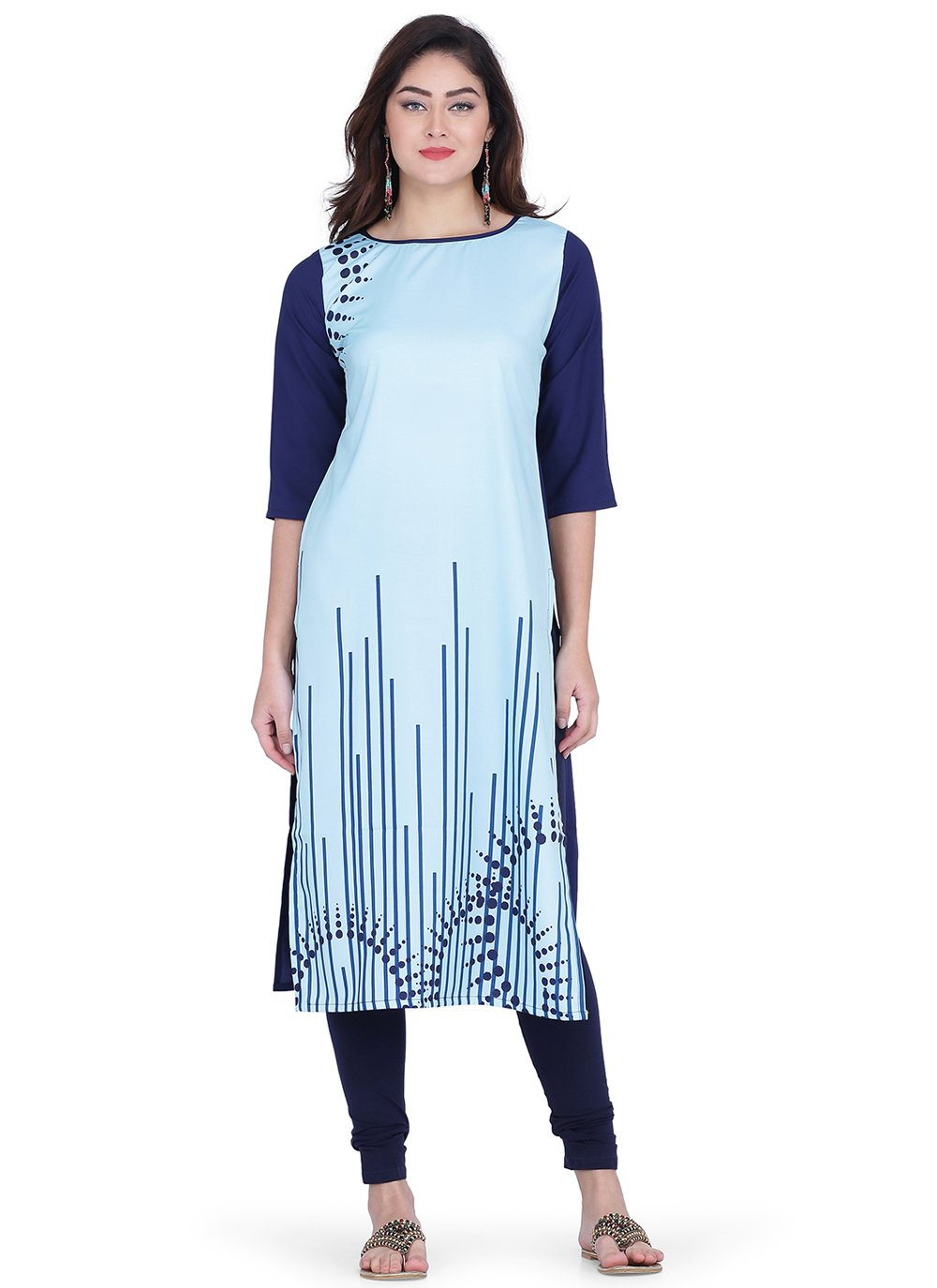 Print Faux Crepe Blue Party Wear Kurti
