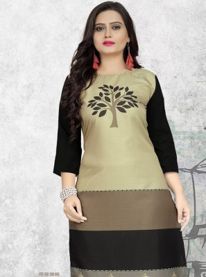 Print Faux Crepe Multi Colour Party Wear Kurti