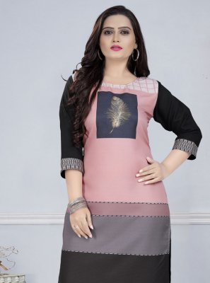 Print Faux Crepe Party Wear Kurti