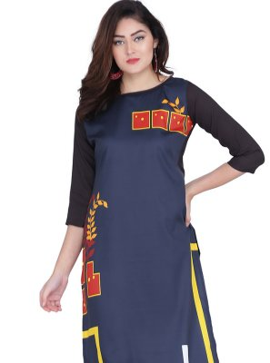 Print Faux Crepe Party Wear Kurti in Navy Blue