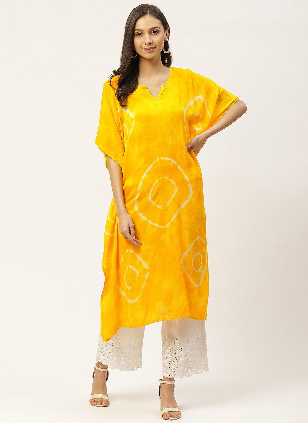 Print Faux Crepe Party Wear Kurti in Yellow