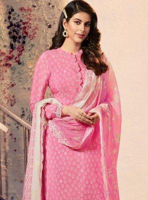 Print Faux Crepe Pink Designer Straight Suit