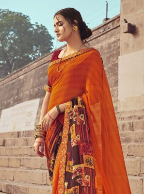 Print Faux Georgette Casual Saree in Multi Colour