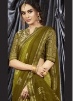 Print Faux Georgette Green Shaded Saree
