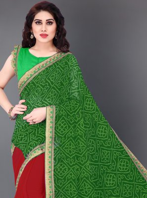 Print Faux Georgette Half N Half Designer Saree in Green and Red