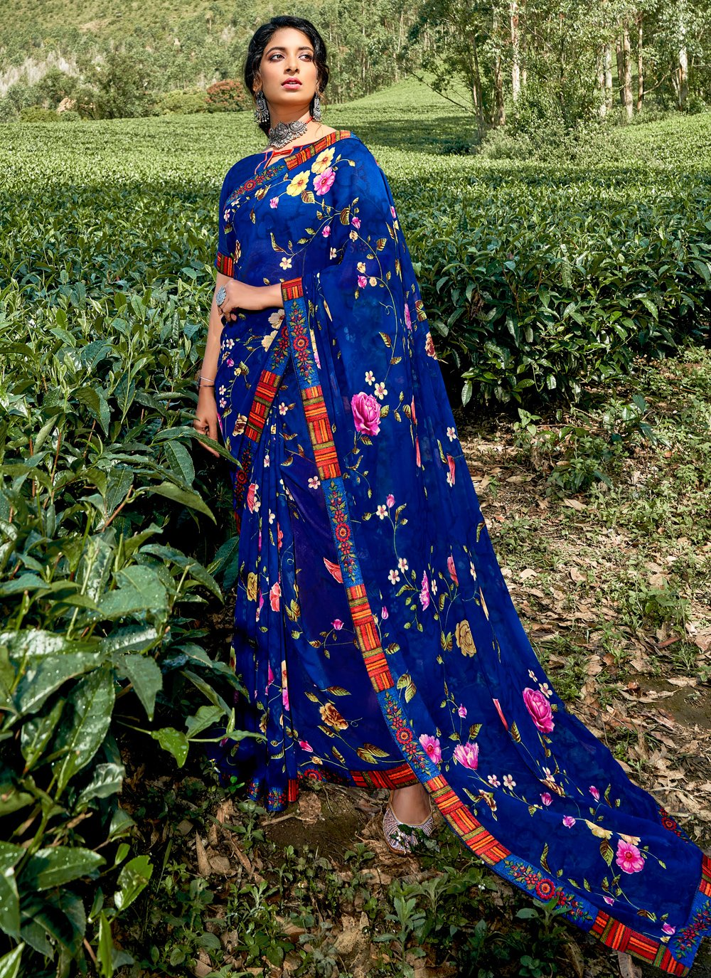 Print Faux Georgette Printed Saree in Multi Colour