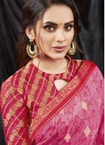 Print Faux Georgette Shaded Saree in Hot Pink