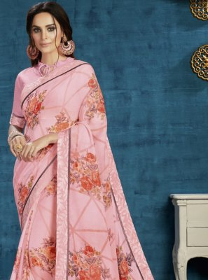 Print Georgette Traditional Saree in Pink
