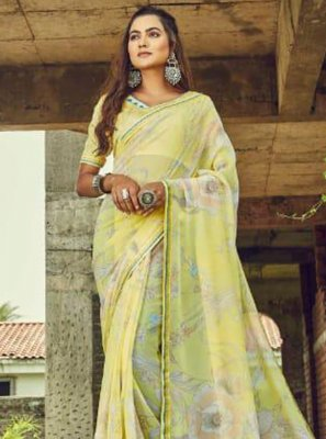 Print Georgette Traditional Saree in Yellow