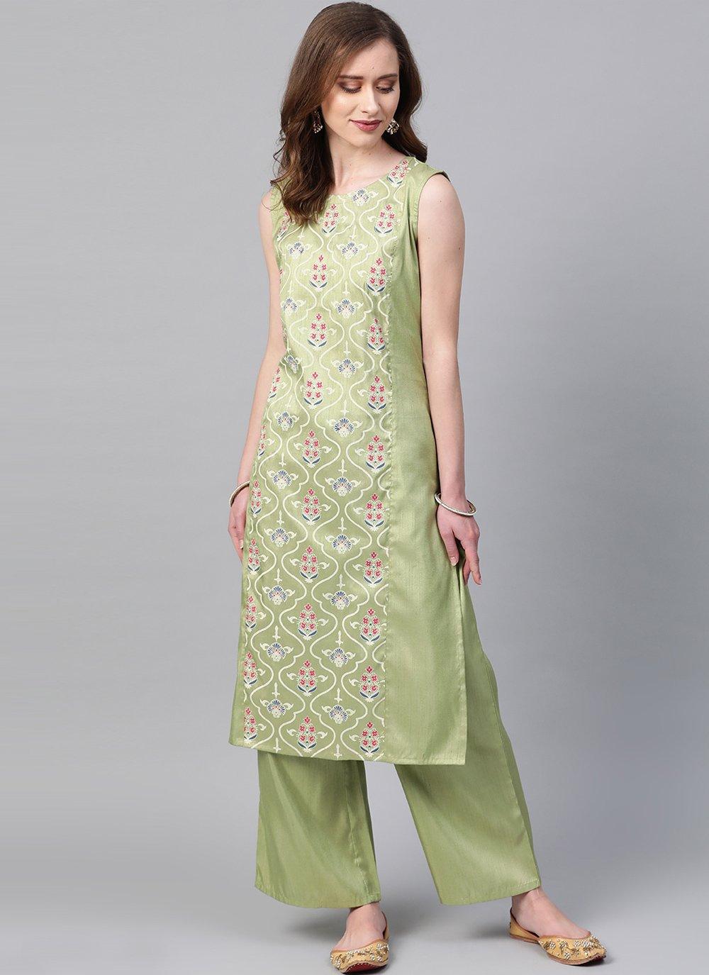 Print Green Poly Silk Casual Kurti
