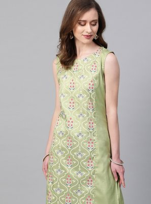 Print Green Poly Silk Casual Kurti