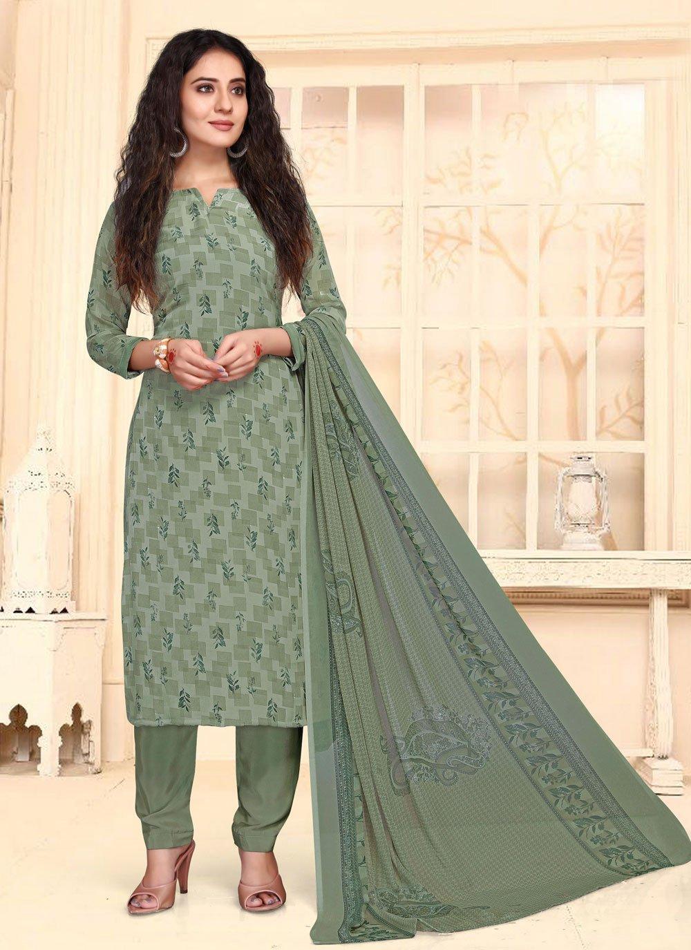 Print Green Straight Suit