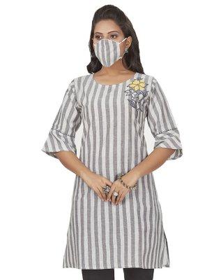 Print Grey Cotton Party Wear Kurti