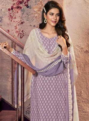 Print Lavender Designer Straight Suit