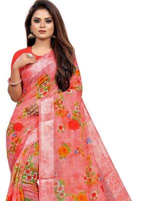 Print Linen Pink Printed Saree
