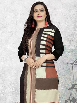 Print Multi Colour Faux Crepe Party Wear Kurti