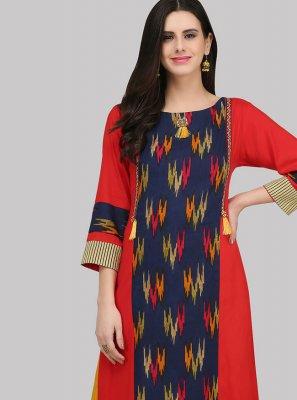 Print Multi Colour Rayon Party Wear Kurti