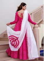 Print Muslin Readymade Suit in Hot Pink