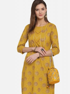 Print Mustard Cotton Party Wear Kurti