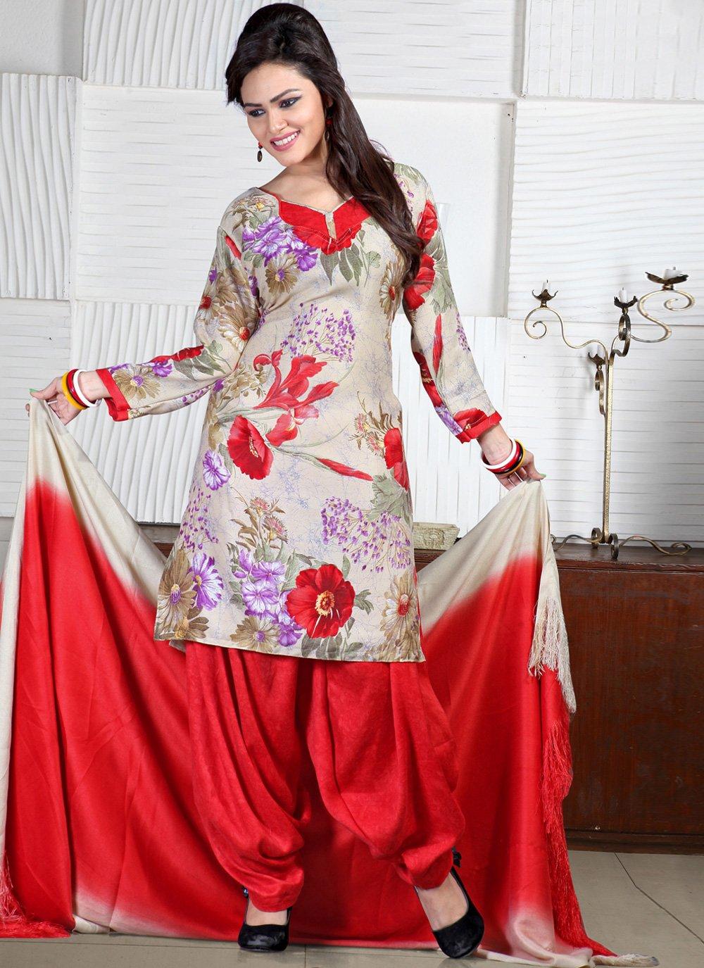 Print Off White and Red Pashmina Punjabi Suit