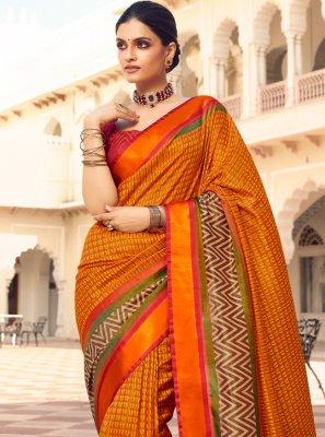 Print Patola Silk  Traditional Designer Saree in Orange