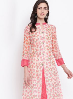 Print Peach Chanderi Party Wear Kurti