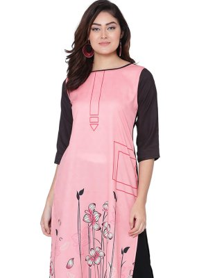 Print Pink Faux Crepe Party Wear Kurti