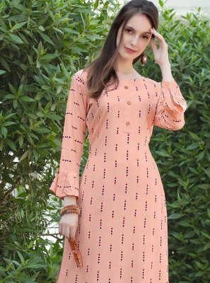 Print Pink Party Wear Kurti