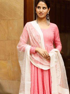 Print Pink Rayon Designer Suit