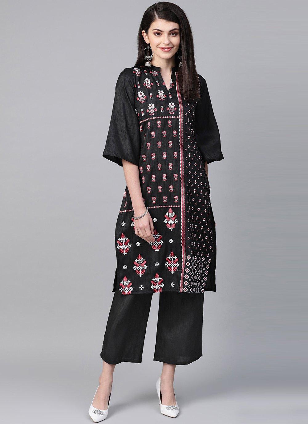 Print Poly Silk Designer Kurti in Black