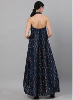 Print Polyester Navy Blue Readymade Gown