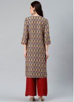 Print Polyester Party Wear Kurti in Multi Colour