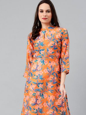 Print Polyester Party Wear Kurti in Orange